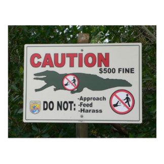 Cartão do sinal dos jacarés do cuidado