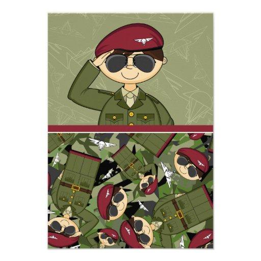 Cartão do soldado RSVP do exército britânico Convites