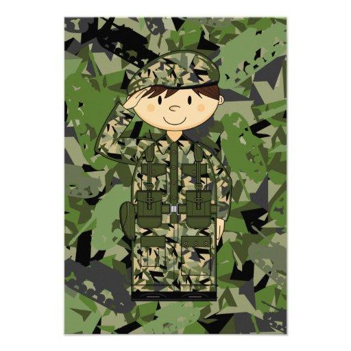 Cartão do soldado RSVP do exército britânico Convite Personalizados