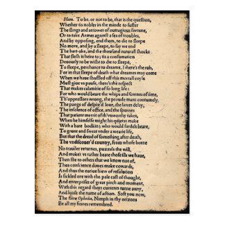 Cartão do Soliloquy de Shakespeare Hamlet