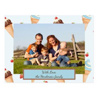 Cartão do sorvete da foto com texto