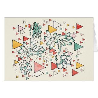 Cartão do Succulent e dos triângulos