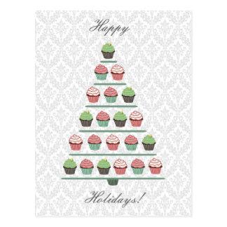 Cartão do suporte da árvore do cupcake do Natal