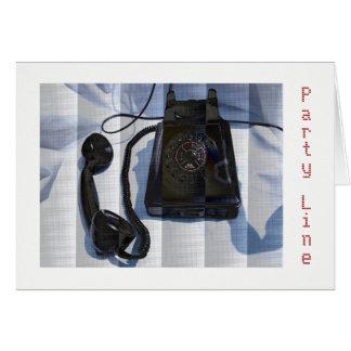 Cartão do telefone do vintage da linha do partido