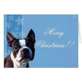 Cartão do terrier de Boston do Natal