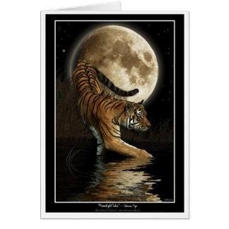 Cartão do TIGRE & da lua de Bengal