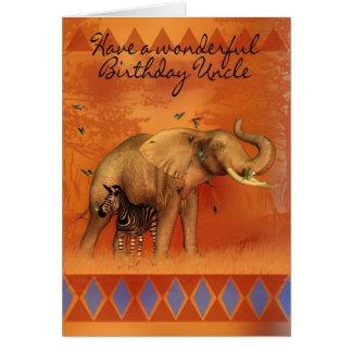 Cartão do tio aniversário com borboleta e Ze do