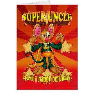 Cartão do tio aniversário - tio super - rato com