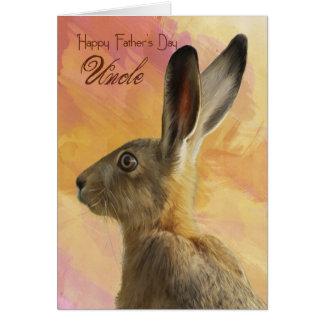 Cartão do tio dia dos pais com lebre selvagem