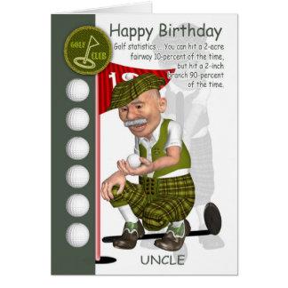 Cartão do tio Jogador de golfe Aniversário com