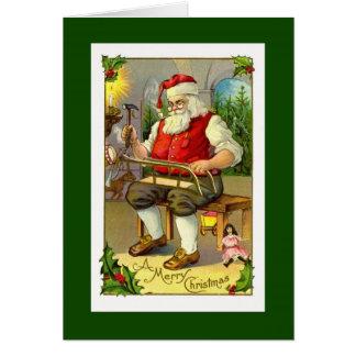 Cartão do Toymaker do papai noel do vintage