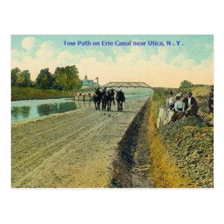 Cartão do trajeto do reboque do canal de Erie