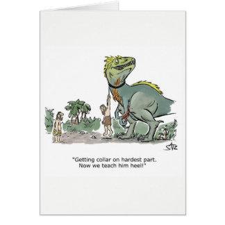 Cartão do treinamento da obediência do dinossauro