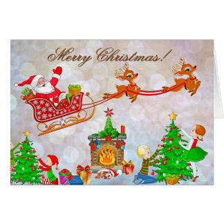 Cartão do trenó do papai noel do Feliz Natal