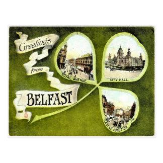 Cartão do trevo de Belfast do vintage