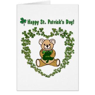 Cartão do urso do dia de St Patrick feliz