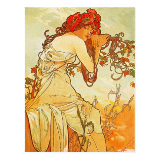 Cartão do verão de Alphonse Mucha Cartão Postal