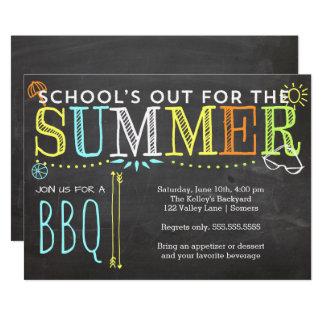Cartão Do verão do partido do Convite-School o CHURRASCO