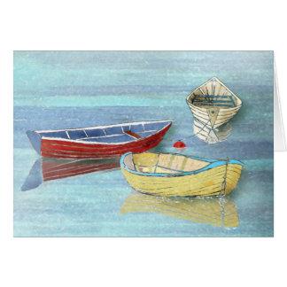 Cartão do verão dos barcos da manhã cartão comemorativo