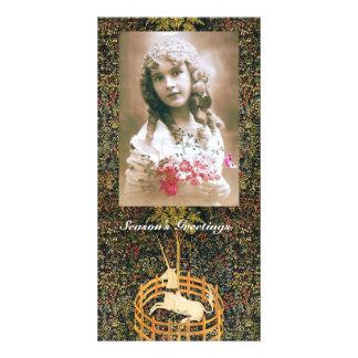Cartão Do VERDE GÓTICO da FANTASIA do UNICÓRNIO Natal