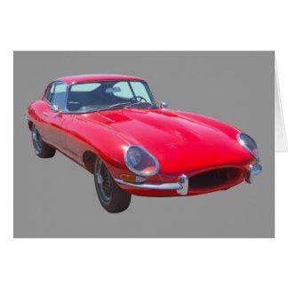 Cartão Do vermelho de Jaguar XKE carro 1964 de esportes