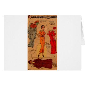 Cartão do vestido azul de papel da boneca de Jane Arden