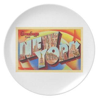 Cartão do viagem da letra da Nova Iorque #2 NY Prato De Festa
