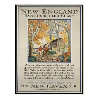 Cartão do viagem de Nova Inglaterra do vintage