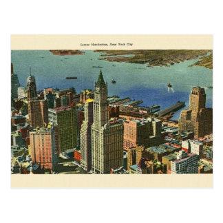 Cartão do viagem do Lower Manhattan do vintage