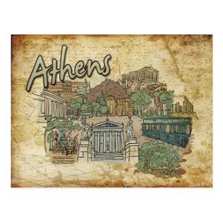 Cartão do viagem do monumento da piscina de Atenas