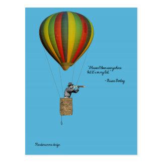 Cartão do viajante de mundo com o balão de ar