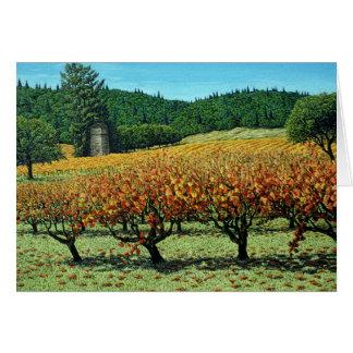 Cartão do vinhedo da queda