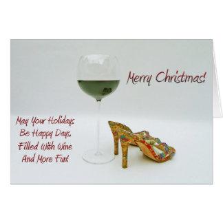 Cartão do vinho do divertimento e do Natal dos