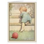 Cartão do vintage com ilustração doce do bebê
