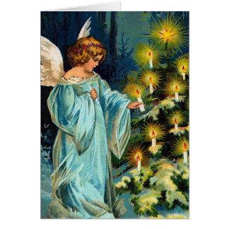 """Cartão Do """"vintage da árvore anjo e de Natal"""""""
