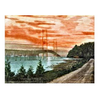 Cartão do vintage da ponte de Mackinac