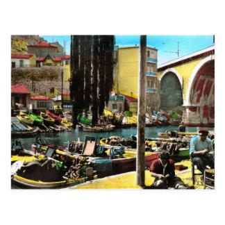 Cartão do vintage da réplica, Marselha, Fishermans