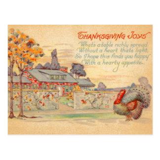 Cartão do vintage das alegrias da acção de graças