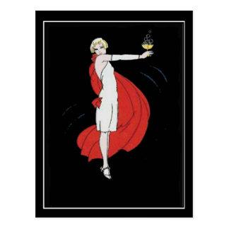 Cartão do vintage do party girl do art deco