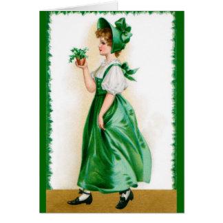 Cartão do vintage do St. Patricks - menina doce