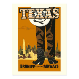 Cartão do vintage do viagem de Texas