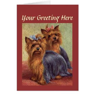 Cartão do vintage do yorkshire terrier