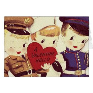 Cartão do vintage dos namorados dos meninos do