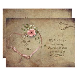 cartão do vintage e casamento do coração da fita