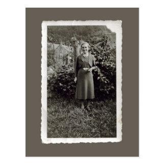 Cartão do vintage - jovem mulher no vinhedo