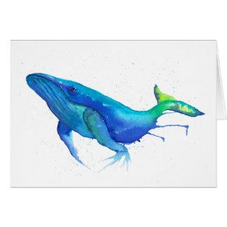Cartão do Watercolour da baleia