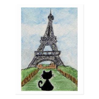 Cartão do Watercolour da torre Eiffel do gato
