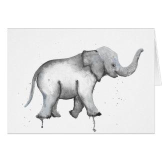 Cartão do Watercolour do elefante do bebê