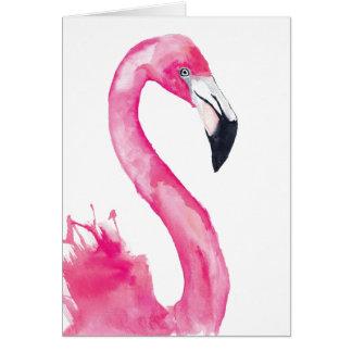 Cartão do Watercolour do flamingo