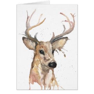 Cartão do Watercolour dos cervos do veado